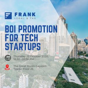 Seminar on BOI Promotion for Tech Startups, Bangkok, 22 October 2020